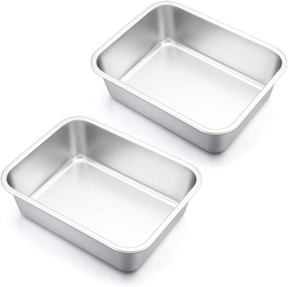 Lasagna Pan Set of 2, E-far Rectangular Deep Cake Baking Pans, Small Roaster Baking Dish Stainless Steel, 10x8x3.2 Inches, Non-Toxic & Heavy Duty, Dishwasher Safe