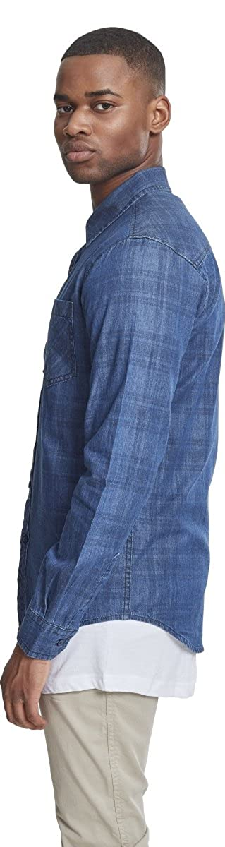 Urban Classics Printed Check Flanell Shirt Blue Washed