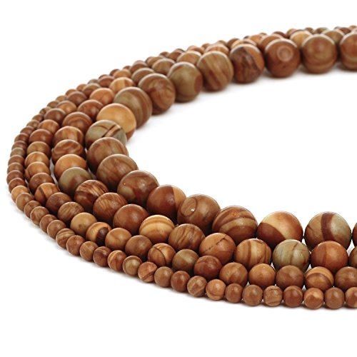 RUBYCA Natural Woodgrain Jasper Gemstone Round Loose Beads for DIY Jewelry Making 1 Strand - 6mm