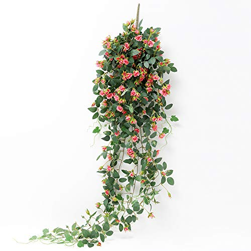 JUSTOYOU Artificial Hanging Plants Rose Vine 5FT Large Fake Flower Greeny Chain Wall Home Room Garden Wedding Indoor Outdoor Decorative (Pink)