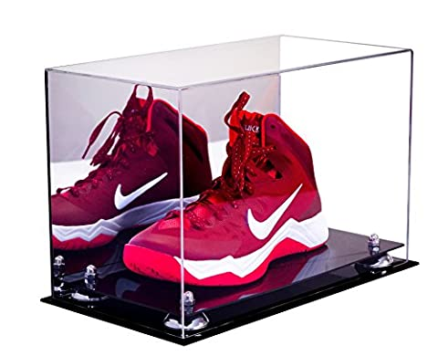 Deluxe Acrylic Large Shoe Display Case for Basketball Shoes Soccer Cleats Football Cleats with Silver Risers and Mirror - Large Display Case