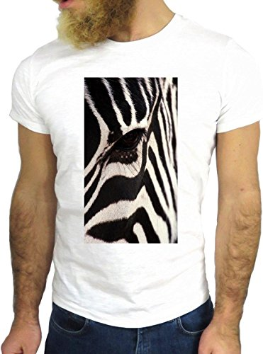 T SHIRT JODE Z1356 ZEBRA EYES ANIMAL WILD AFRICA FUN COOL FASHION NICE GGG24 BIANCA - WHITE XL