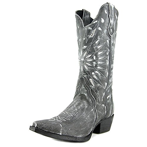 Laredo Womens Black Starburst Leather Cowboy Boots 12in Cutout 8 (Ladies Cowboy Boots)