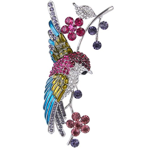 EVER FAITH Austrian Crystal Art Deco Parrot with Floral Leaf Brooch Green Gold-Tone