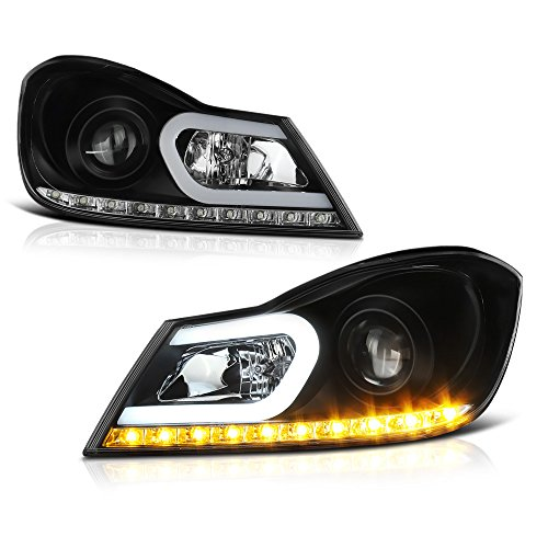 [For 2012-2014 Mercedes-Benz W204 C-Class Halogen Model] OLED Neon Tube Black Projector Headlight Headlamp Assembly, Driver & Passenger Side