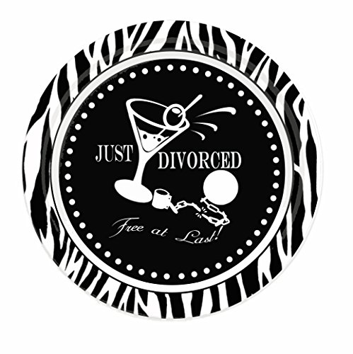 Divorce Party Plates, Just Divorced, Free at Last Zebra Print 7 Party Appetizer Plates (8)