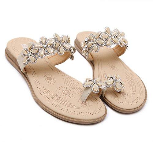 Zapatos Flores Sandalias Las Planos Gran Diamante De B Tamaño Hxwaw6qTC
