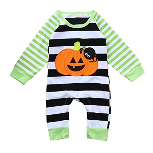 Forthery Baby Romper Jumpsuit Halloween Striped Spider Pumpkin Playsuit Outfits (6-9Months, Green) -