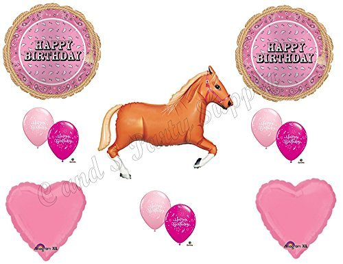 PINK BANDANA TAN HORSE HAPPY Birthday Party Balloons Decoration Supplies Cowgirl ()