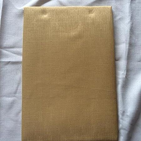 68 INCH ROUND TABLECLOTH GOLD, PLAIN SLUB WEAVE FABRIC WITH SERRATED CUT  BORDER. 4