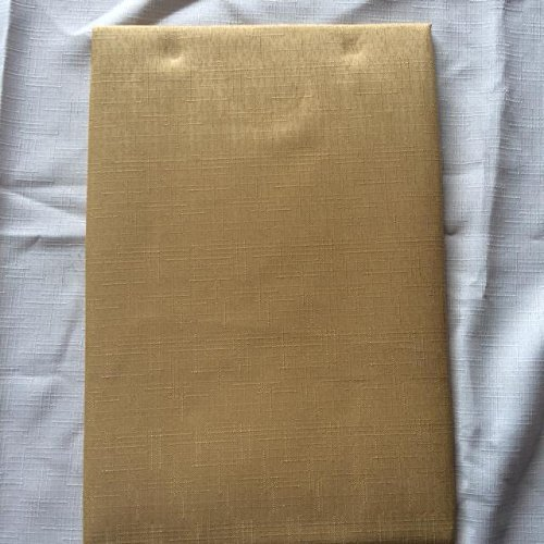 68 INCH ROUND TABLECLOTH GOLD, PLAIN SLUB WEAVE FABRIC WITH SERRATED CUT  BORDER. 4