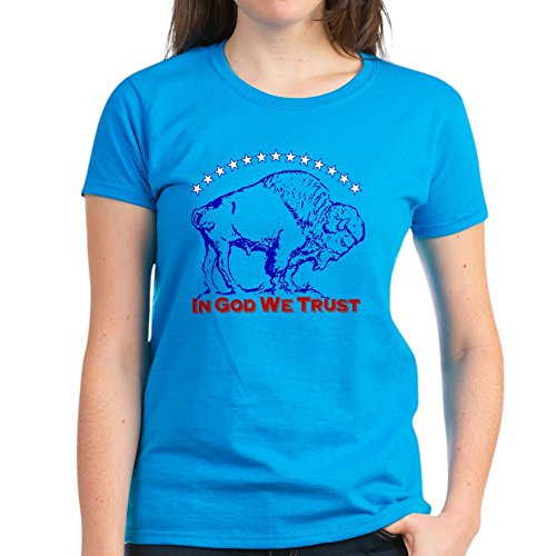CafePress Bison Icon Women's Dark T-Shirt Womens Cotton T-Shirt Caribbean Blue