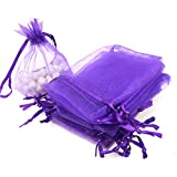 Aspire 1000 Pieces Organza Drawstring Pouches, 3 1/2'' x 4 3/4'' Jewlery Candy Gift Bag-Purple