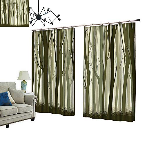 2 Panels Curtain with Hook Mother Nature Theme Illustration of Misty Forest with Trees Army Green and Sage Can Block Sunlight,W120 xL96.5
