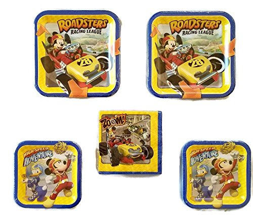 Mickey Mouse 'Mickey and the Roadster Racers' Party Bundle 9'' Plates (16) 7'' Plates (16) Lunch Napkins (16) by Celebration Party Supply