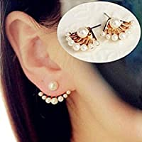 OrliverHL 1Pair Women Lovely Crystal Earrings Pearl Ear Stud Front and Back Earbob