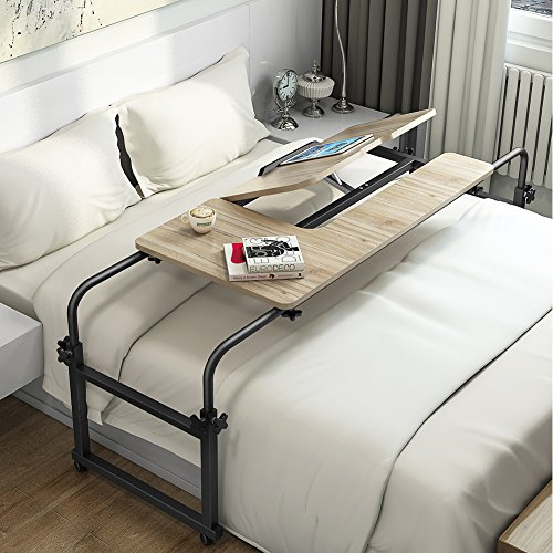 Writing Stand (Overbed Table with Wheels, LITTLE TREE Multi-Function Height & length Adjustable Mobile Table with Tiltable Stand Board, Works as Computer Desk, Writing Desk or Drafting Table (Oak.))