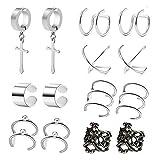 ear clips earrings - POSTWAVE 7 Pairs Stainless Steel Ear Clips Non Piercing Earrings Hoop Ear Cuffs Cartilage Ear Clips Set for Men Women, 7 Various Styles