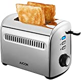 Aicok 2-Slice Toaster, Stainless Steel Toaster with Removable Crumb Tray, Extra-Wide Slots, 7 Setting Shade Selectors, 850W, Silver