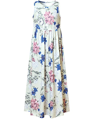 Perfashion Girls Flower Sleeveless Pleated Casual Swing Long Maxi Dress with Pockets