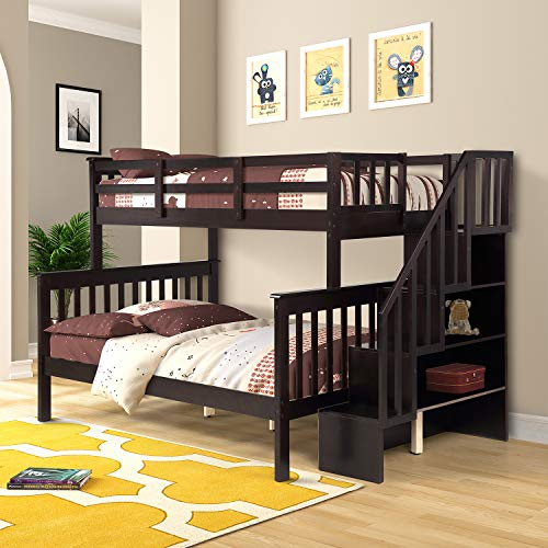 Twin Over Full Bunk Bed Frame,Mission Style Wood Twin Over Full Size Bed Frame with Stairs and Storage, Espresso