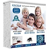 VECELO Hypoallergenic Waterproof Bed Cover, Vinyl Free Mattress Protector, Queen, White