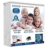 VECELO 4 Layers Reinforced Waterproof Mattress Protector Cover Hypoallergenic 100% Vinyl Free, Deep Pocket & Fitted Sheet, Queen Size