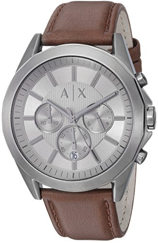 Mens Designer Watch (Armani Exchange Men's AX2605 Gunmetal IP Brown Leather Watch)