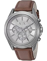 Armani Exchange Mens AX2605 Gunmetal IP Brown Leather Watch