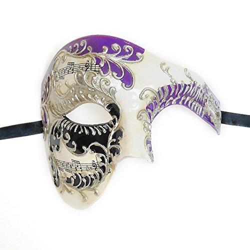 Phantom Mask Purple Musical Half Face Venetian Masquerade Mask Phantom Design for Men (Venetian Half Mask)