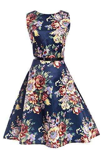 Garden Retro Dress Floral Flower Tea 16 Cocktail YMING Swing Dress Women's Prom Vintage Z0ZvnRA