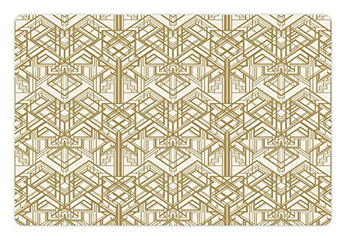Ambesonne Geometric Pet Mat for Food and Water, 1920s Style Futuristic Retro Mix Vertically Symmetrical Design, Rectangle Non-Slip Rubber Mat for Dogs and Cats, Pale Brown and Off White -