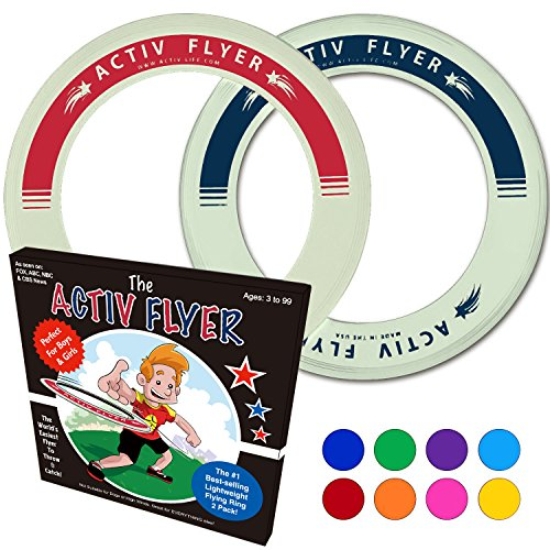 Best Kid's Frisbee Rings [2 PACK] Fly Straight & Don't Hurt - 80% Lighter Than Standard Frisbees - Replace