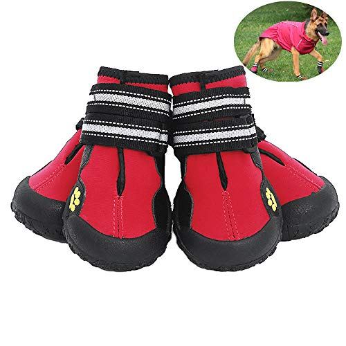 Dog Skid Boots (JunBo Petilleur 4Pcs Dog Shoes Waterproof Dog Boots Anti-Skid with Reflective Strap for Outdoor Activities (S))