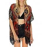 Kolylong 1PC Frauen Geometrie Gedruckt Tassel Schal Kimono Tops Bluse (M)