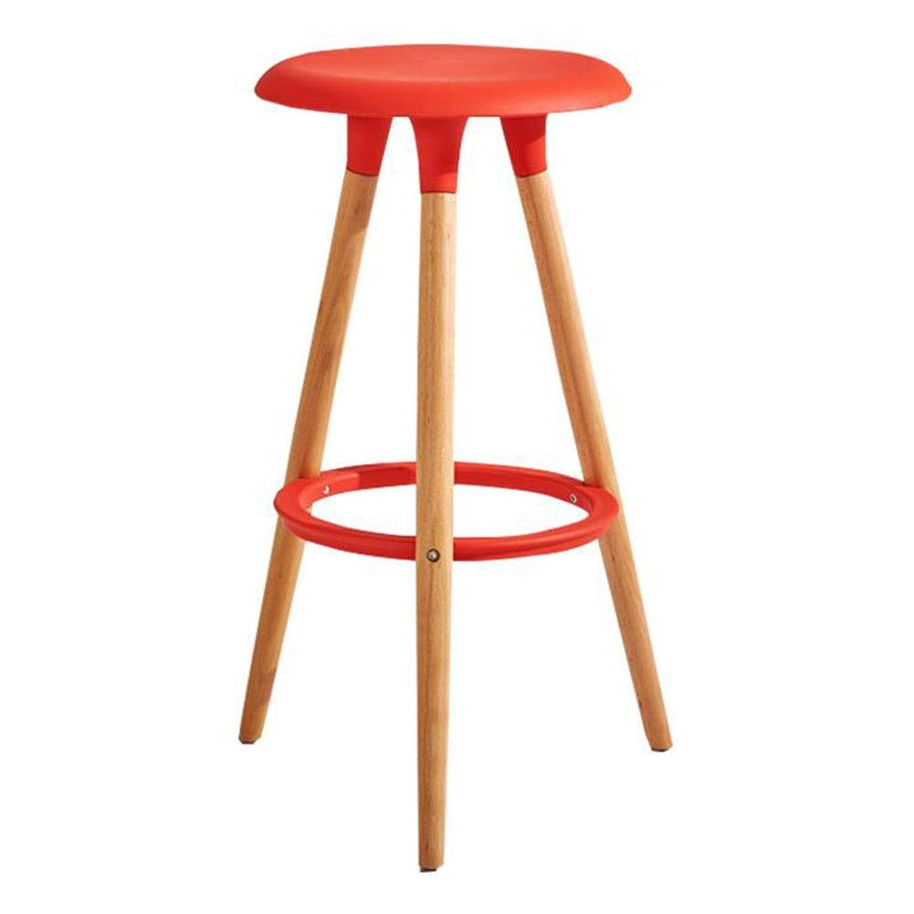 Red Dall Bar Stool Solid Wood Restaurant Home High Stool PP Seat Modern Household Assembly 47×47×76cm, 6 colors (color   Red)