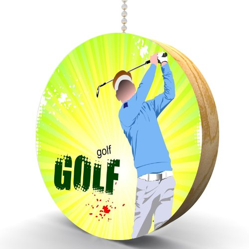 Golf Swing Hardwood Oak Fan / Light Pull