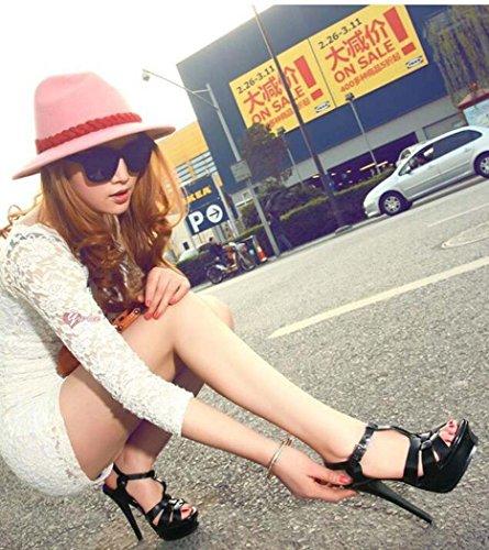 Tamaño Talla Románticos Alto Tacón 34 para 38 Negro Mujer Tacón de Sandalias de 39 Sandalias Plataforma Zapatos Rosa Color Negro de Alto acnRzg
