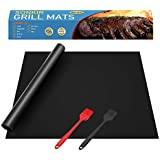 "Sonkir Grill Mats, Set of 6 Heavy Duty GM01 Grill Mats with 2 Silicone Basting Brushes, Non-Stick FDA Approved BBQ Baking Mats (15.75 x 13 "") - Black"