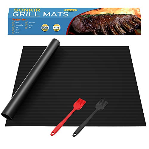 "Sonkir Grill Mats, Set of 6 Heavy Duty GM01 Grill Mats 2 Silicone Basting Brushes, Non-stick FDA Approved BBQ Baking Mats (15.75 x 13 "") - Black"