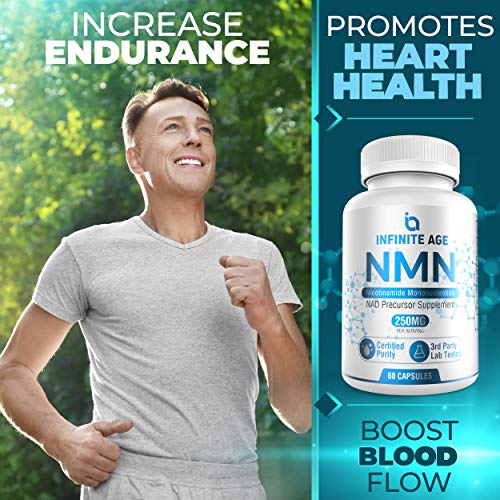 51npOc7WaFL - Infinite Age PURE NMN (250mg) | Nicotinamide Mononucleotide Supplement | Support Optimal Brain Function| NAD Anti-Aging Support | Supports Health Energy Production I 60 Capsules