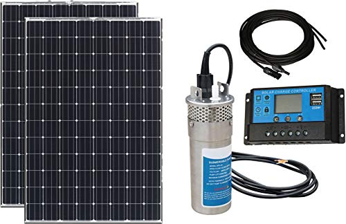 TrendlySolar Solar Powered Submersible Water Pump - 2x100W Mono Solar Panel w/ 24V 3.2 GPM Deep Well Pump - Farm, Garden, Well, Fountain, Irrigation, Pond