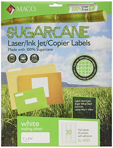 Recycled Address Labels - MACO Sugarcane Laser/Ink Jet/Copier White Address Labels, 1 x 2-5/8 Inches, 30 Per Sheet, 750 Per Pack (SL-3025)