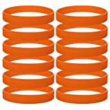 GOGO 12 PCS Silicone Wristbands, Adult Rubber Bracelets, Party Accessories-Orange