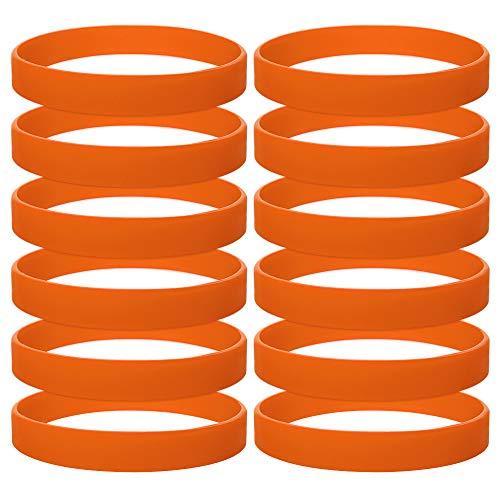 GOGO 12 PCS Silicone Wristbands for Kids, Rubber Bracelets, Party Favors-Orange