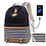 3e6093c17082 Girls Canvas School Backpack Set 3 in 1 with lunch bag College Laptop USB  Backpack Casual