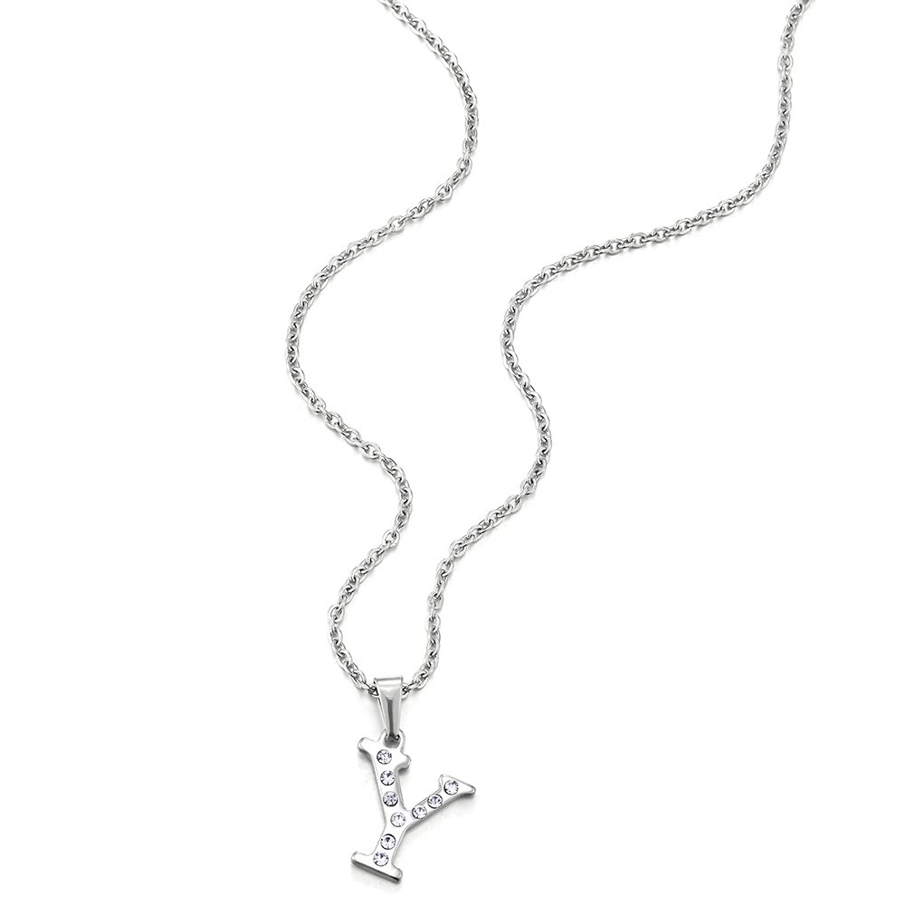 COOLSTEELANDBEYOND Nombre Inicial Letra del Alfabeto A Colgante con Circonio C/úbico 50cm Cadena Cuerda Acero Inoxidable Collar de Mujer