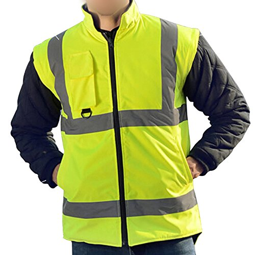 Holulo Waterproof 7-in-1 Reflective Class 3 Safety Parka Jacket with Zipper and Pockets Size XL by Holulo (Image #4)