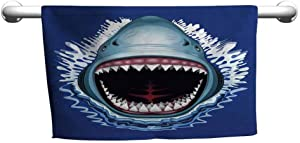 Shark Personalized Hand Towels Attack of Open Mouth Sharp Teeth Sea Danger Wildlife Ocean Life Cartoon High-end Bath Sheet Style 23 x 8 inch Royal Blue Teal