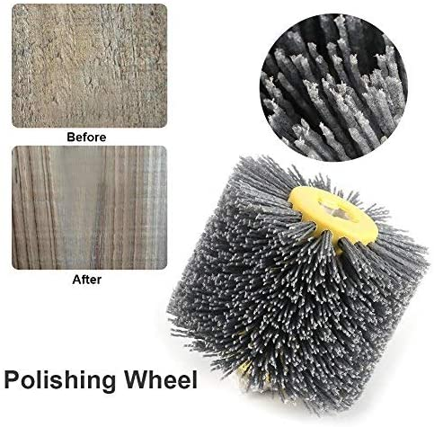 Yosoo Health Gear Wire Drawing Wheel Drum Brush Abrasive Wire Polishing Wheel Brush for Wooden Polishing 3.94